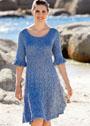 Синее ажурное платье с воланами на рукавах. Спицы