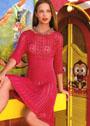 Рубиново-красное платье с ажурным узором и резинками. Спицы
