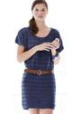Синее платье с полосами ажурного узора. Спицы