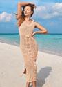 Летнее сетчатое платье с крупным ажурным мотивом. Спицы