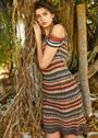 Шелковое платье в разноцветную узорчатую полоску. Спицы