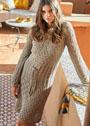 Платье с миксом ажурных узоров. Спицы
