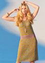Летнее приталенное платье с узором из протяжек. Спицы