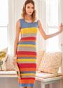Летнее платье в разноцветными полосками. Спицы