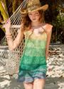 Расклешенное летнее платье с радужными переливами цветов. Спицы
