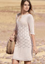 Розовое легкое платье с ажурным узором из кос. Спицы