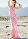 Длинное летнее платье с вертикальным растительным узором. Спицы