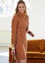 Платье из резинки, с объемным воротником-стойкой. Спицы