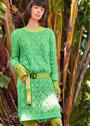 Зеленое платье с сочетанием ажурных узоров. Спицы