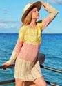 Трехцветное летнее платье с ажурными узорами. Спицы
