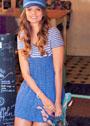 Ажурное летнее платье с полосатой кокеткой. Спицы