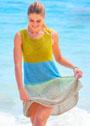 Летнее четырехцветное платье А-силуэта. Спицы