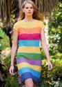 Летнее полосатое платье с дырчатым узором. Спицы