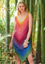 Летнее радужное платье на бретелях. Спицы