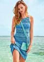 Ажурное летнее платье в синих тонах. Спицы