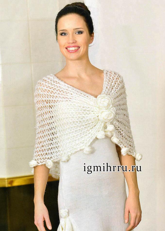 Белая ажурная накидка с розами, от финских дизайнеров. Вязание спицами и крючком