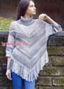 Для весенней прохлады! Теплое меланжевое пончо-свитер с бахромой. Спицы