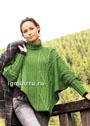 Зеленое теплое пончо асимметричного покроя, с воротником и рукавами. Спицы