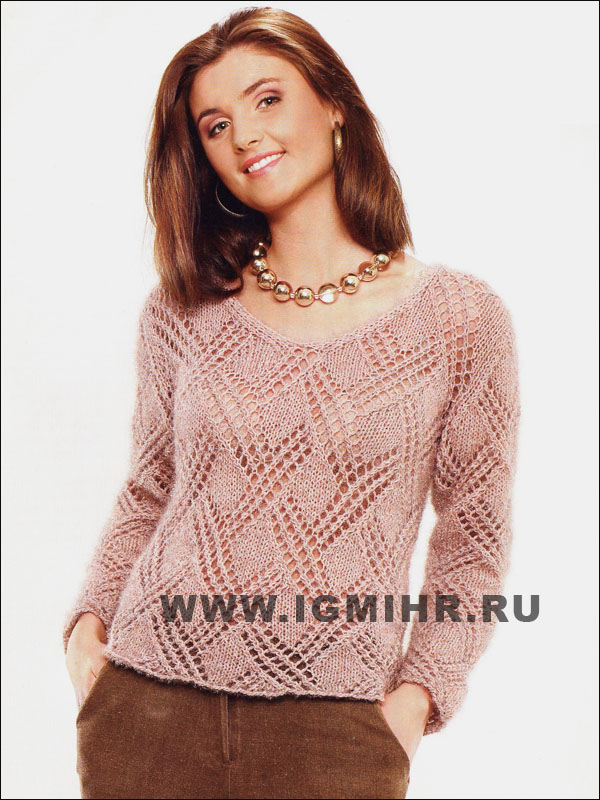 Бежевый ажурный пуловер. Спицы