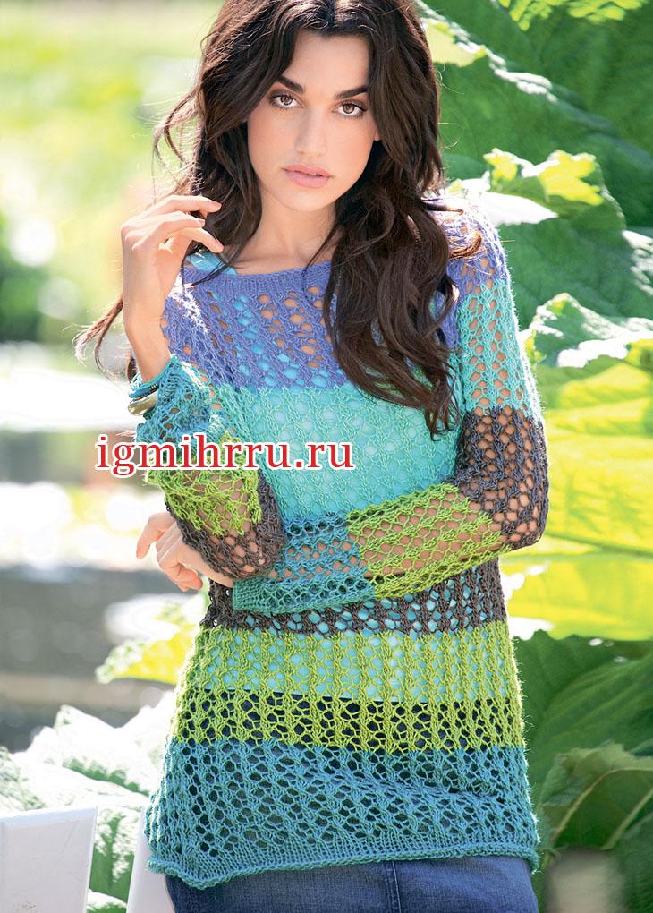 Полосатый пуловер с прозрачным ажурным узором. Вязание спицами
