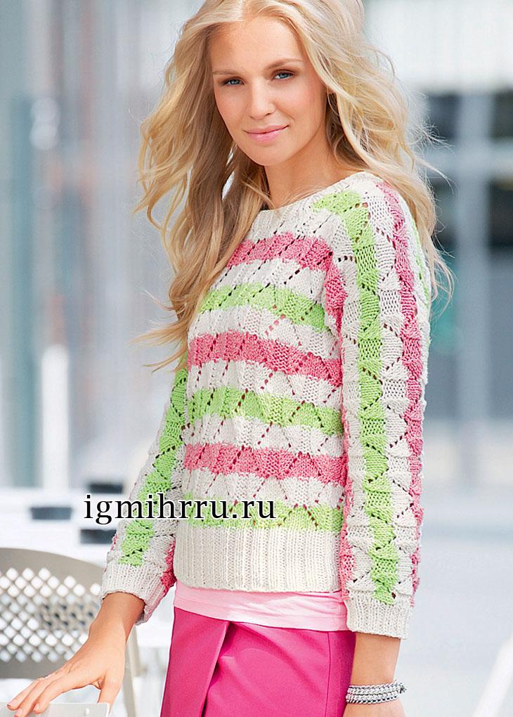 Летний пуловер в полоску с ажурным узором. Вязание спицами