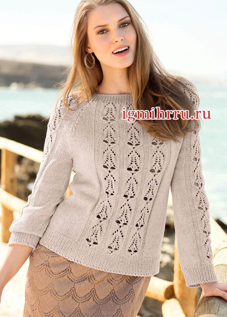 Бежевый пуловер-реглан с ажурными мотивами. Вязание спицами