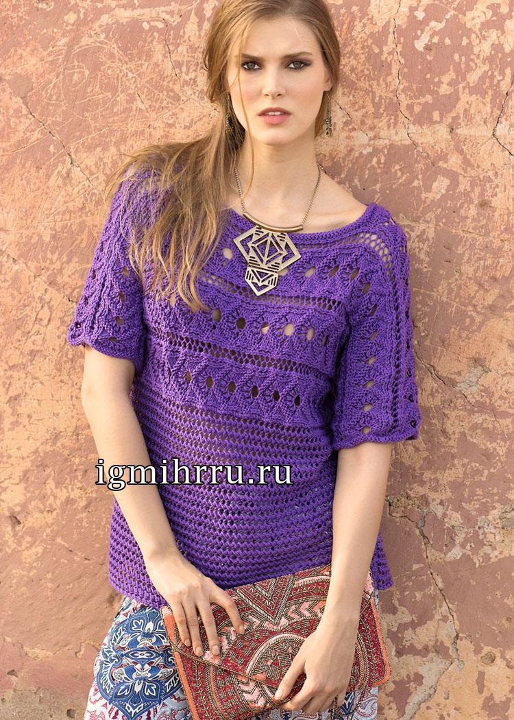 Фиолетовый пуловер, связанный поперек единым полотном. Вязание спицами