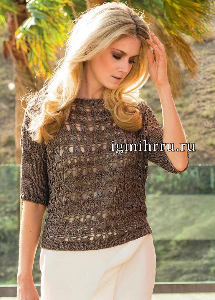 Коричневый летний пуловер с узором из вытянутых петель. Вязание спицами