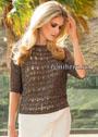 Коричневый летний пуловер с узором из вытянутых петель. Спицы