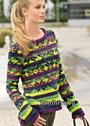 Изысканно и экстравагантно! Пуловер со сложным сочетанием разноцветных полос и жаккардового узора. Спицы