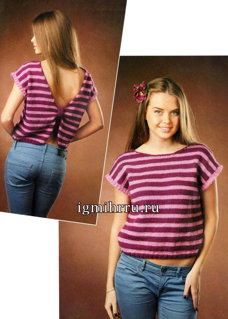 Пуловер в полоску, с оригинальной формой спинки. Вязание спицами