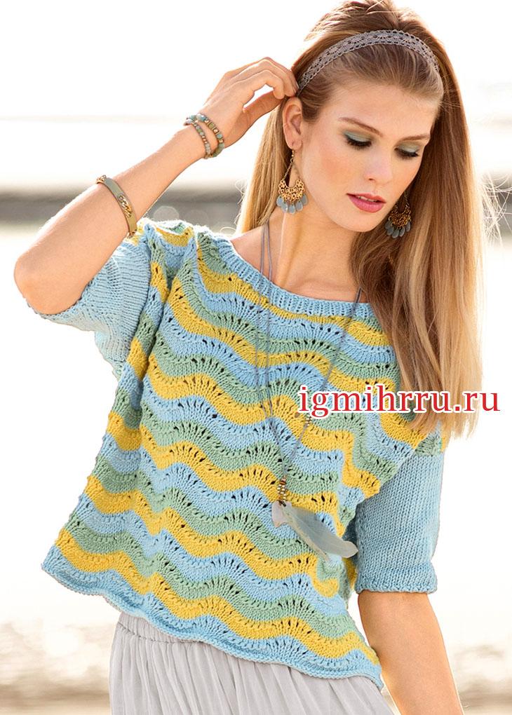 Пуловер в полоску с волнистым узором. Вязание спицами