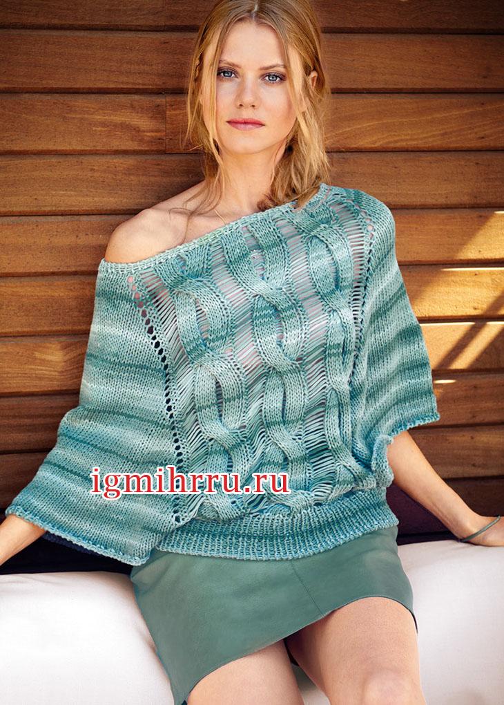 Серо-зеленый пуловер с узором из кос и спущенных петель. Вязание спицами