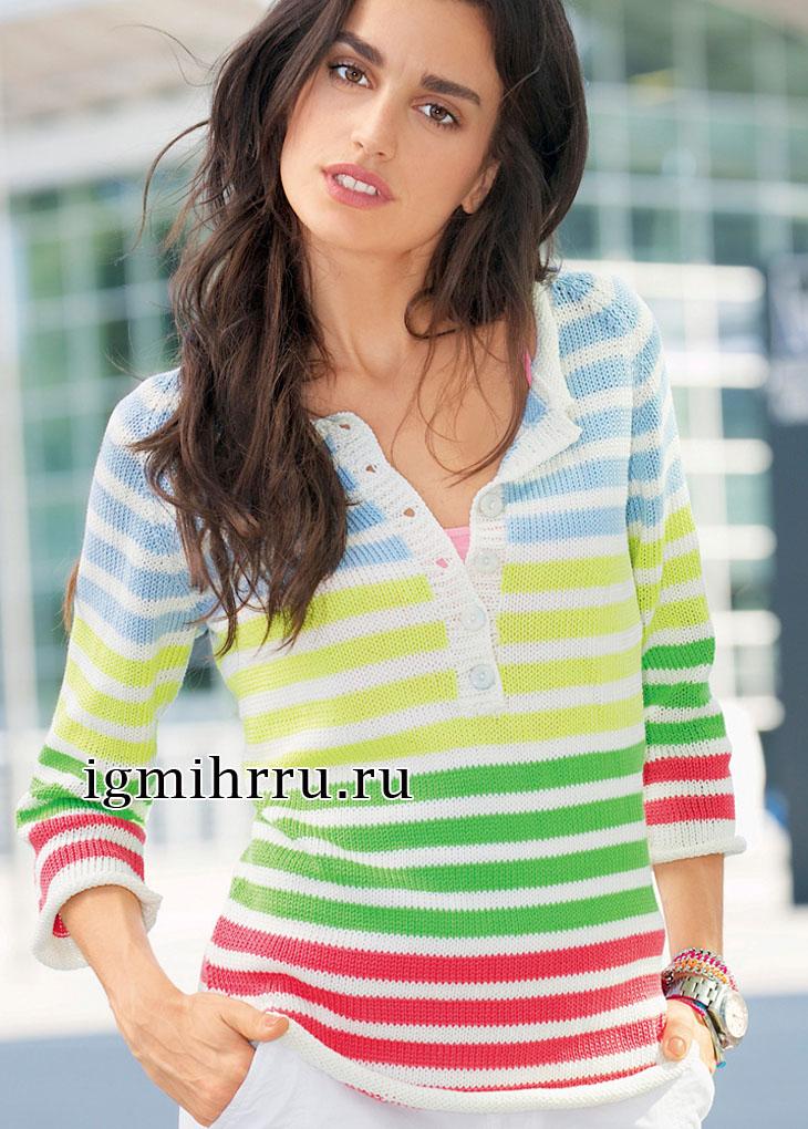 Полосатый пуловер с застежкой поло. Вязание спицами