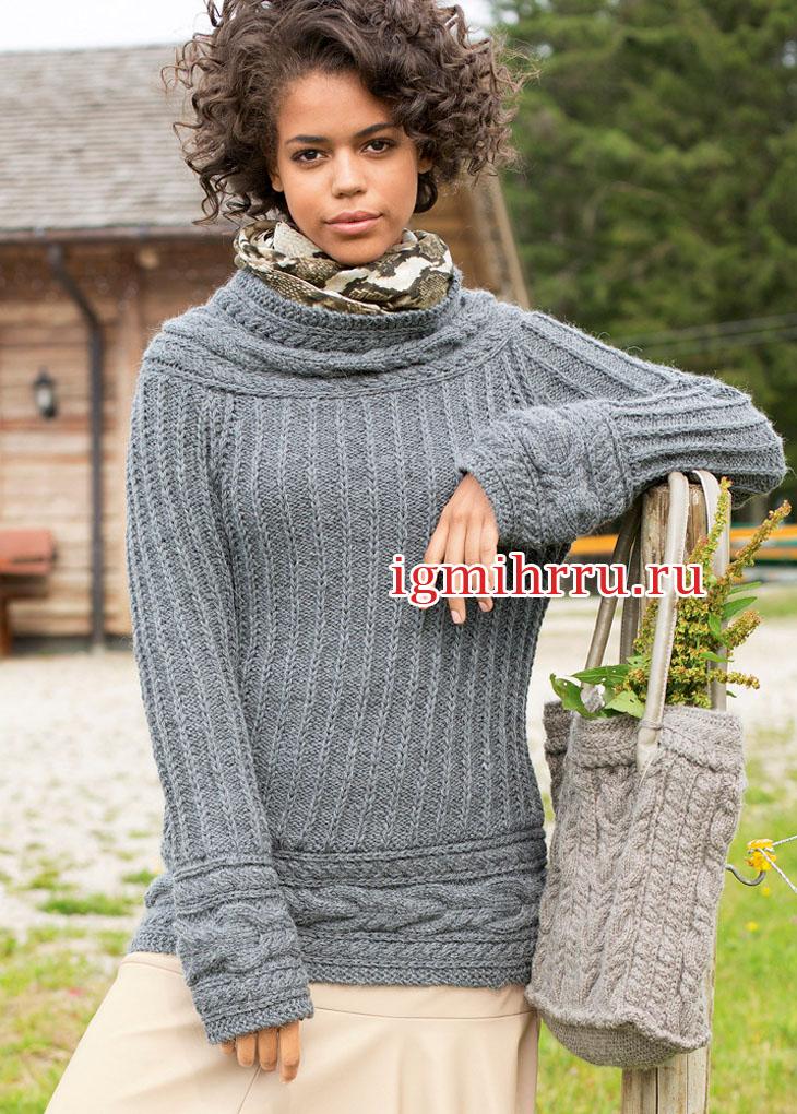 Серый шерстяной пуловер с поперечными планками из кос. Вязание спицами