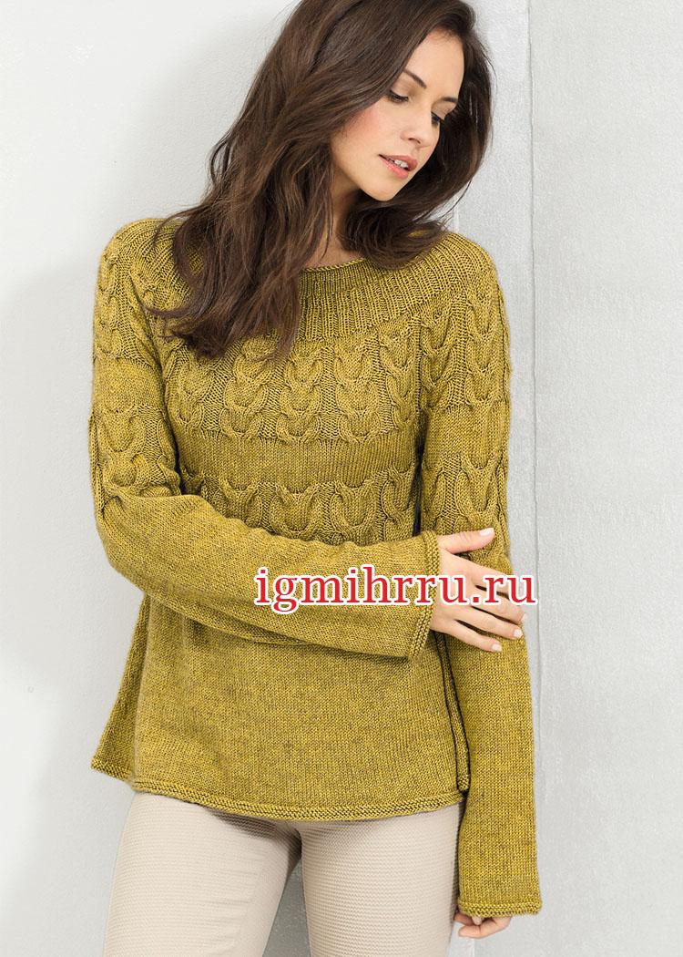 Женственный пуловер с круглой кокеткой и узорами из кос. Вязание спицами