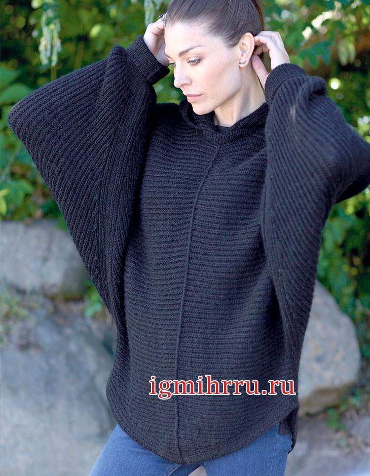 Просторный черный пуловер покроя летучая мышь. Вязание спицами