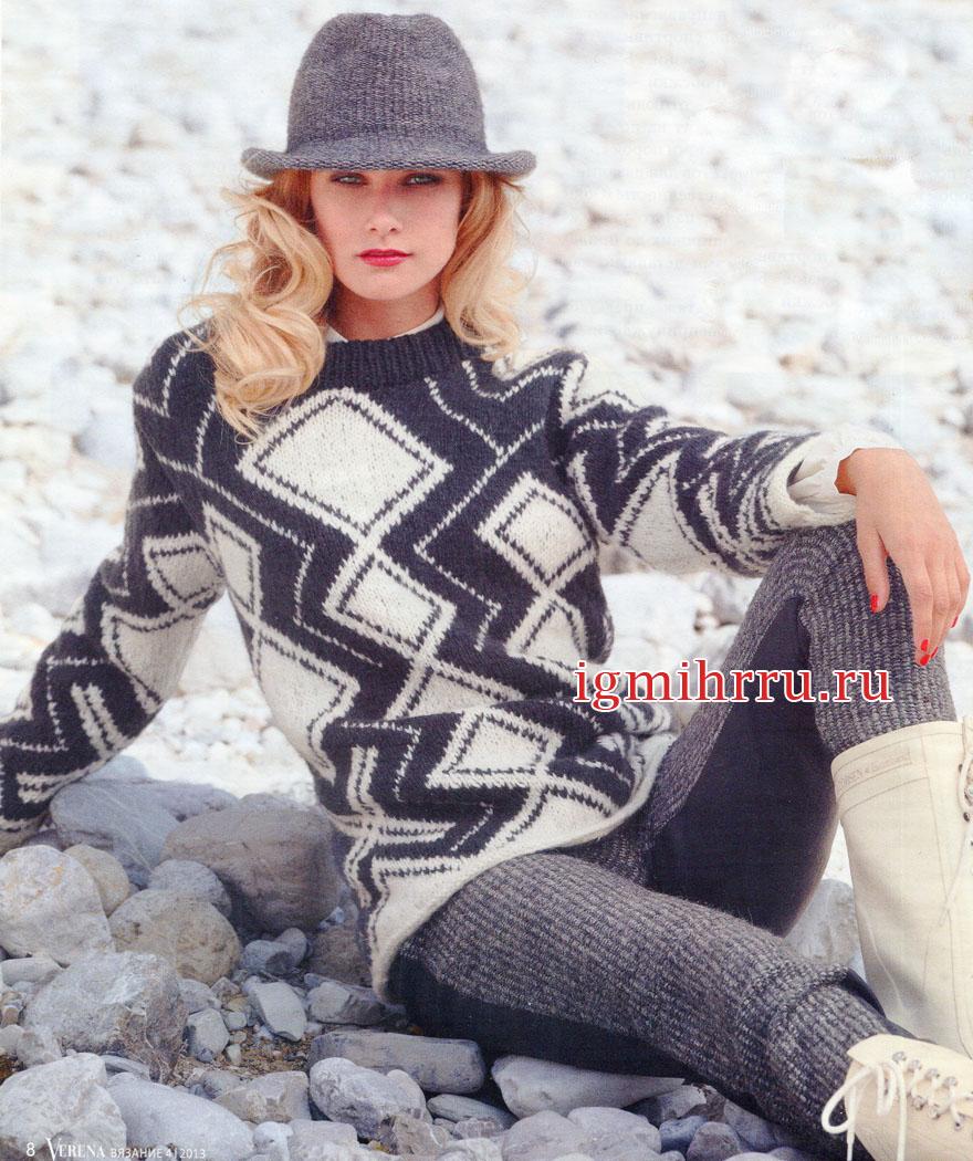 Теплый пуловер из черно-белых ромбов. Вязание спицами