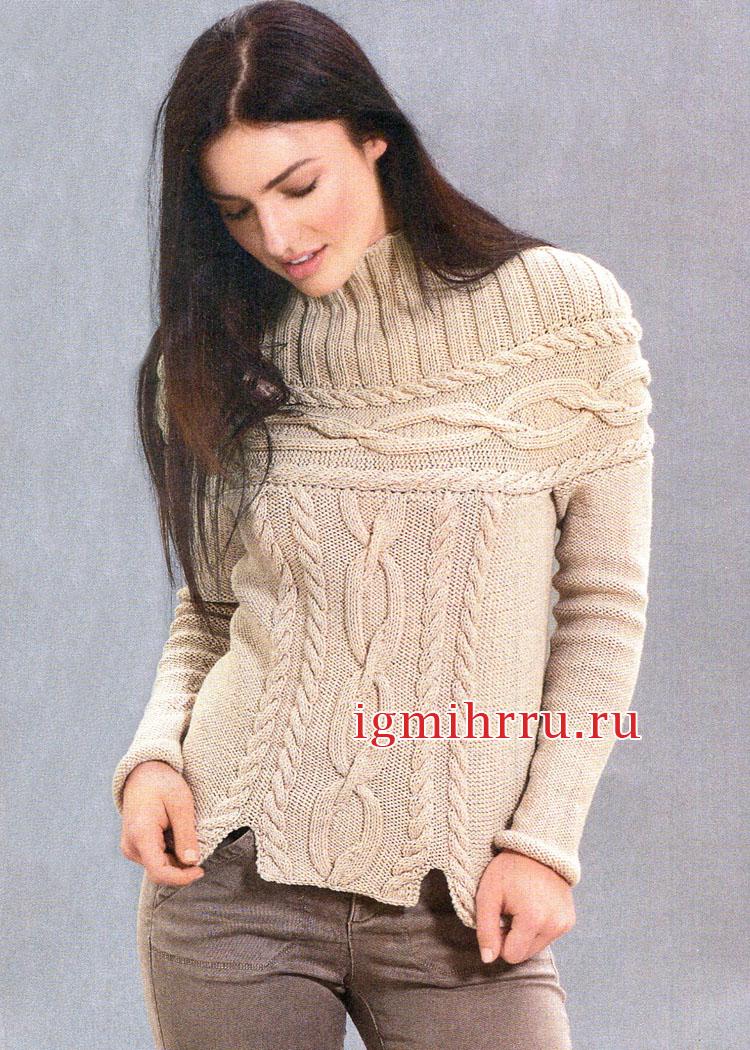 Теплый бежевый пуловер с круглой кокеткой, связанной поперек. Вязание спицами