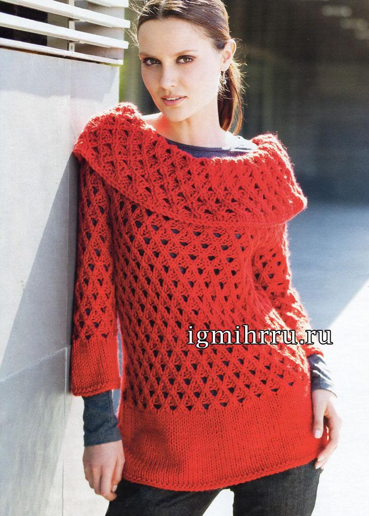 Красный теплый джемпер с узором сеточка. Вязание спицами