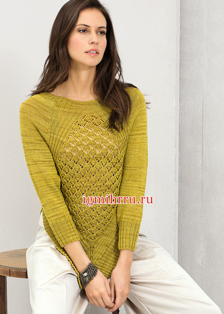 Тонкий шерстяной пуловер с ажурным узором и острыми краями. Вязание спицами