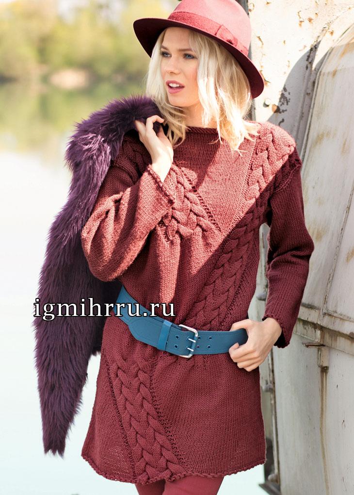 Удлиненный пуловер красно-коричневого цвета с диагональными косами. Вязание спицами