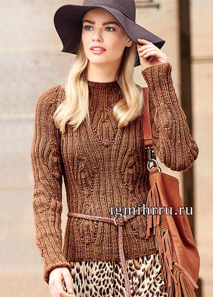 Коричневый пуловер с узором из листьев и резинки. Вязание спицами