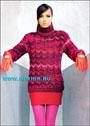 Женский пуловер с ажурными полосами спицами Женский пуловер с ажурными полосами связан спицами из яркой меланжевой...