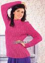 Ярко-розовый джемпер с фантазийными переплетениями. Спицы