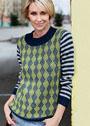 Пуловер с узором Арлекин и полосками. Спицы