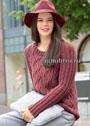Повседневный пуловер кирпично-красного цвета с ромбами. Спицы