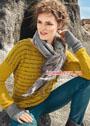 Пуловер горчичного цвета с полосками. Спицы