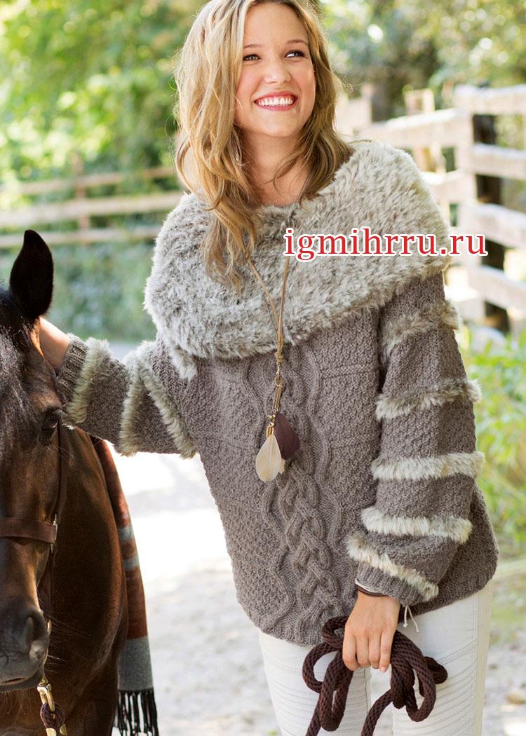 пуловер с воротником из вязаного искусственного меха вязание спицами