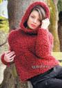 Красный шерстяной джемпер с капюшоном. Спицы